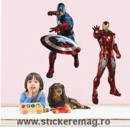 Sticker decorativ perete Captain America Si Iron Man