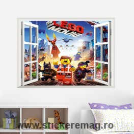 Sticker decorativ 3D Lego Movie Fereastra
