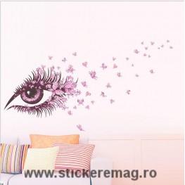 Sticker decorativ ochi si fluturi