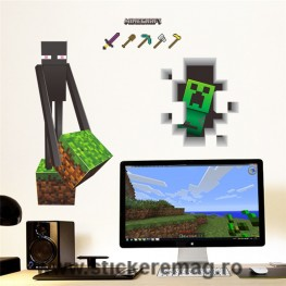 Sticker decorativ 3D Minecraft Enderman