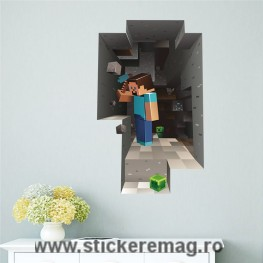Sticker decorativ 3D Minecraft Steve