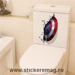 Sticker decorativ 3D Scut Captain America