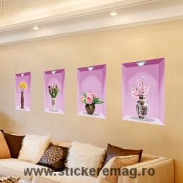 Sticker decorativ 3D ghiveci cu flori 2