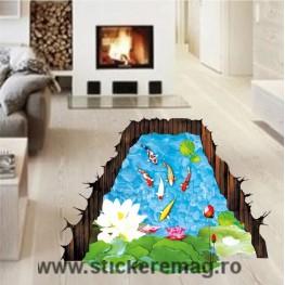 Autocolant 3D pentru podea pesti si nuferi 2