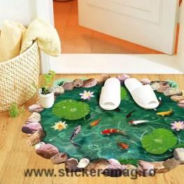 Autocolant 3D pentru podea pesti si nuferi