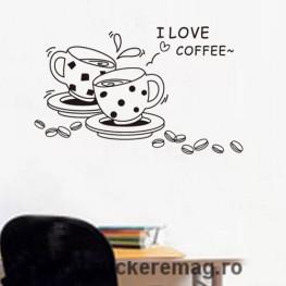 Autocolant bucatarie cesti de cafea