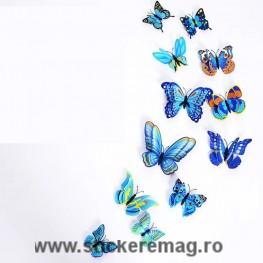 Set de 12 fluturi 3D sticker albastru