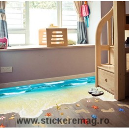 Sticker 3D pentru podea plaja cu valuri 90x60 cm