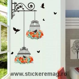 Sticker de perete colorat cu colivii, pasari si flori