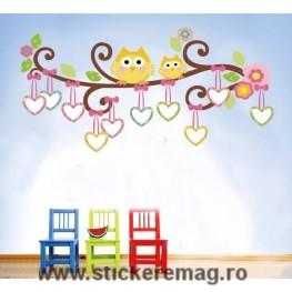 Sticker decorativ copii creanga cu rame foto