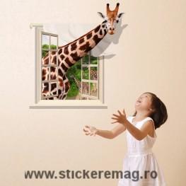 Sticker fereastra 3D Girafa 90x60cm
