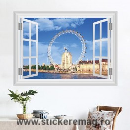 Sticker fereastra 3D London Eye 50 x 70cm