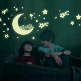 Sticker fosforescent luna si stele