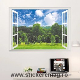 Sticker perete 3D fereastra peisaj padure 2