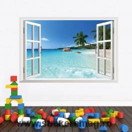 Sticker perete 3D fereastra peisaj plaja