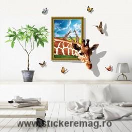 Sticker perete 3D Girafa 2 90x60cm