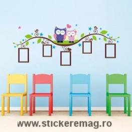 Sticker perete cu 5 rame foto bufnite 133 x 52 cm
