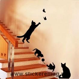 Sticker perete pisici jucause