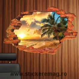 Sticker plaja cu palmier 3D